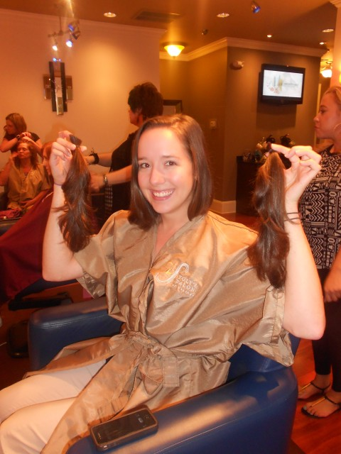 Sims Patrick Studio's Ginger Willis after she made the chop to donate to Locks of Love.