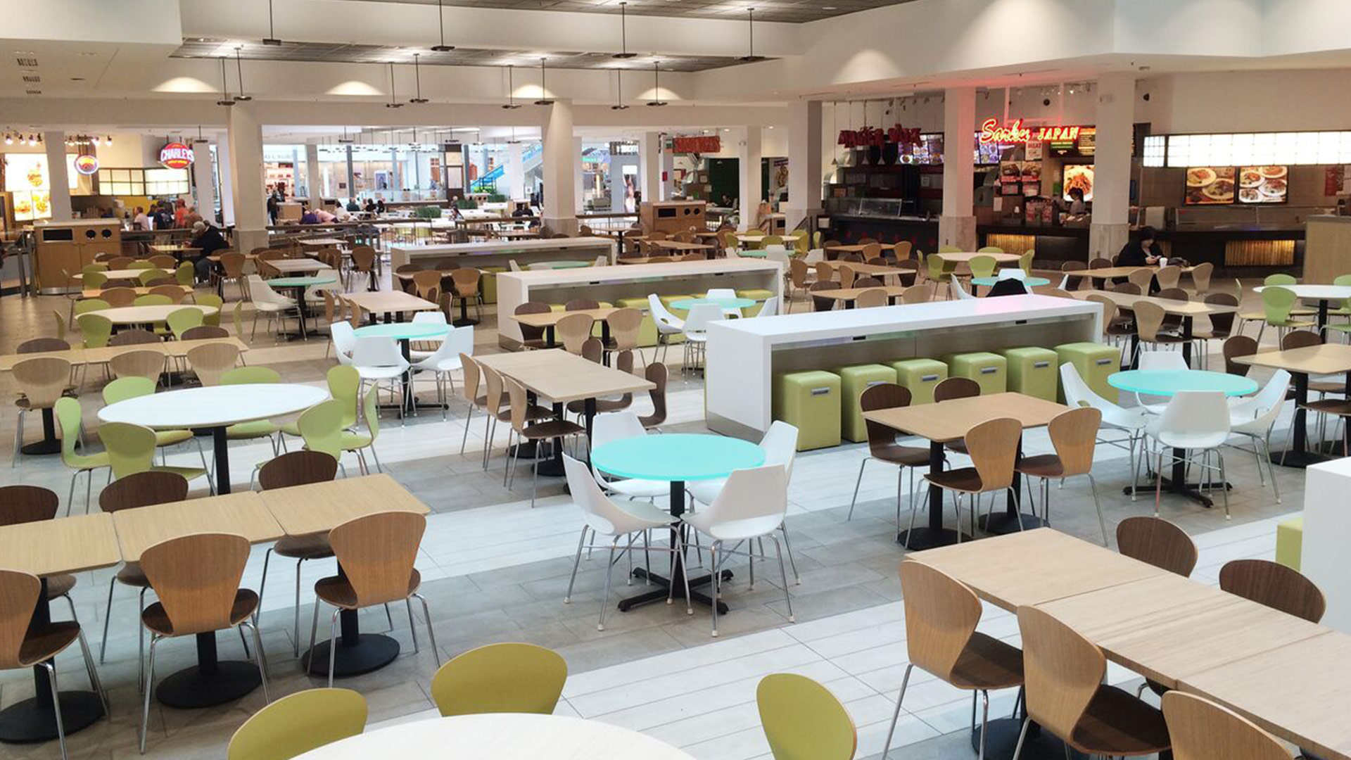 Willowbrook Mall food court transformed through texture and color